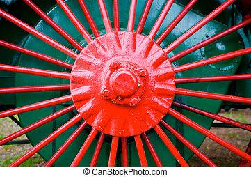 Vintage tractor wheel spokes