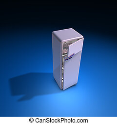 fridge pink - 3d illustration, fridge pink on blue...