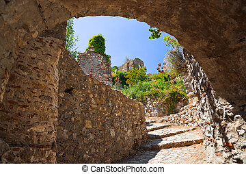 Ruins of old town in Mystras, Greece - archaeology...