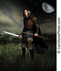 Hunter in the Moonlight - Hunter with bow and sword standing...