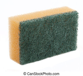 Dishwashing sponge with green scouring pad isolated on white...