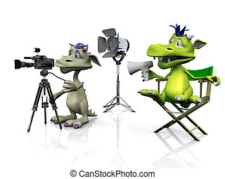 Cute cartoon monsters filming. - A cartoon monster sitting...