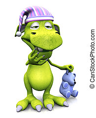 Tired cute cartoon monster wearing nightcap. - A cute...