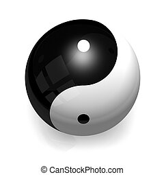 Ying Yang Ball - A Ying Yang ceramic ball with smooth...