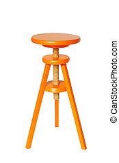 Orange Wood Stool - Vivid orange wood stool isolated on pure...