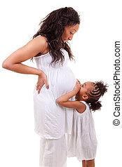 grávida, mulher, dela, filha