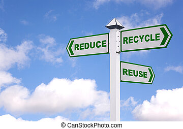 The 3 Rs green signpost - Recycling concept image of a...