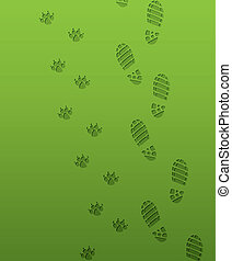 foot prints - vector foot prints of man and dog