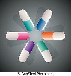 capsules  - vector capsules on dark background