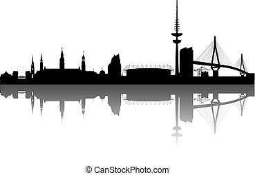 Hamburg Silhouette with white Background