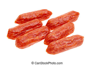 small spicy salami snacks isolated on a white background