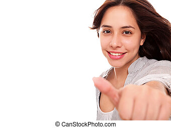 Positivism - woman making a sign of positivism over white...