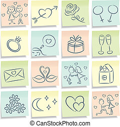 Sticky note with love pictures. Vector illustration.