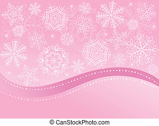 Pink Christmas background with snowflakes. Vector...