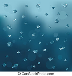 Rainy background with drops Vector illustration