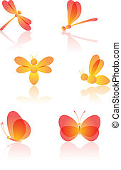 Set of insects Dragonfly, bee and butterfly Vector...