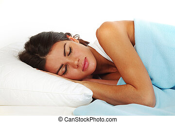sleeping woman - beauty woman sleep on the pillow