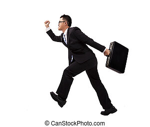 Businessman running with suitcase