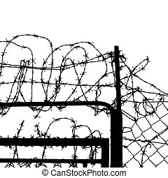 wired fence with barbed wires