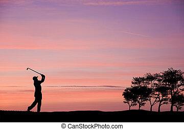 golfeur, silhouette, contre, coloré, Coucher soleil,...