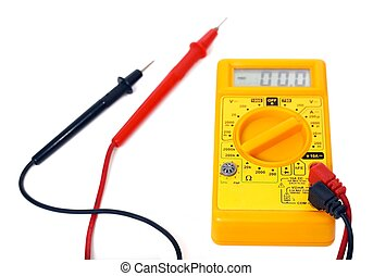 Multimeter on white background - Yellow multimeter and...