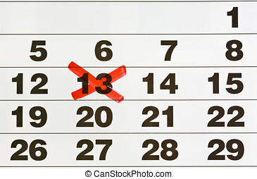 calendar with the number 13 - calendar with a red number 13...