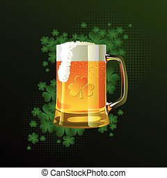 Frosty glass of light beer for St Patricks Day