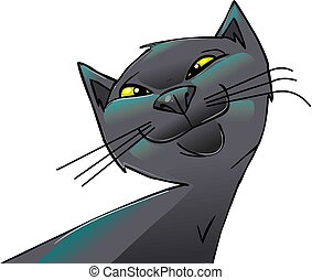 cat - smiling russian blue cat