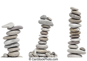 zen stones - some piles of zen stones on a white background