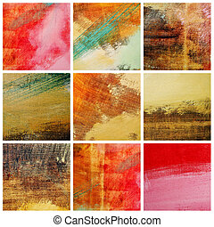 colors background - collage of several canvas with...
