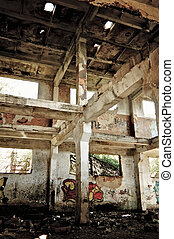Industrial landscape: abandoned ruins of the factory