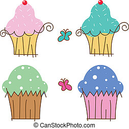cup cakes - 4 illustrations of cup cake with two butterfly...