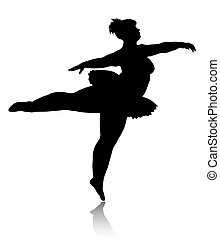 Overweight ballerina silhouette isolated on white background