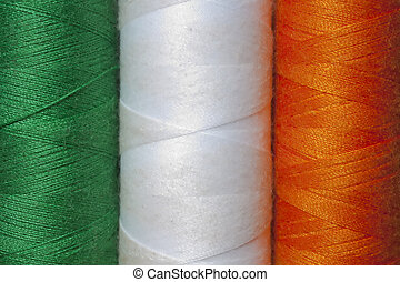 Irish Flag depicted in cotton reels