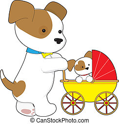 Cute Puppy Baby Carriage - A cute mother dog is walking her...