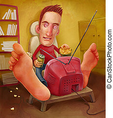 Man watching television - Illustration of a man watching...