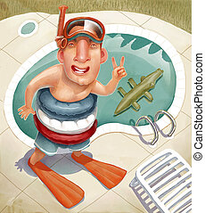a man and a swimming pool - Illustration of cartoon...