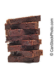 chocolate cake - some slices of chocolate cake isolated on a...
