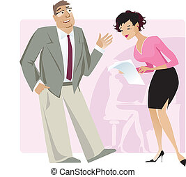 Boss and secretary - Vector illustration of boss giving...