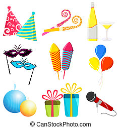 Party Elements - illustration of party elements on white...