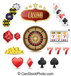 Casino Icons - illustration of set of casino icons on...