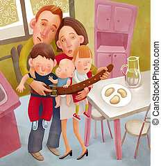 Starving family - Square illustration of family tighten the...