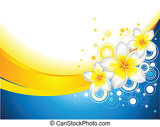 Background with Frangipani Flowers - An abstract vector...