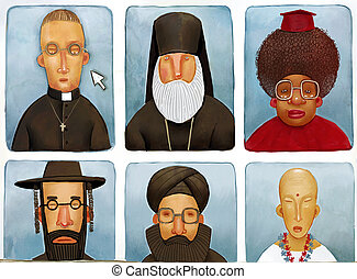 priests - Illustration of portraits of representatives of...