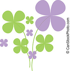 Clover - Lucky green clovers and blue heart on white...