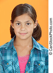 Cute Little Girl - Cute Latina girl isolated on an orange...