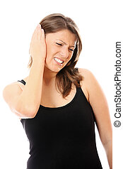 Earache - A picture of young woman with earache over white...