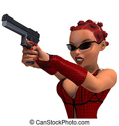cute and funny female comic spy girl. 3D rendering with...