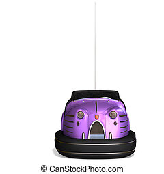 a colorful bumper car from the amusement park 3D rendering...