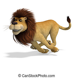 cute and funny rendering of a male cartoon lion. 3D rendering with clipping path and shadow over white